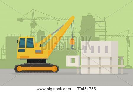 Building crane on building area. Crane vector banner. City building concept in flat design. Construction machines. Transport and moving materials, earthworks illustration for advertise.