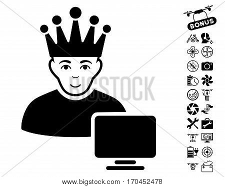 Computer Moderator pictograph with bonus quad copter tools pictures. Vector illustration style is flat iconic black symbols on white background.