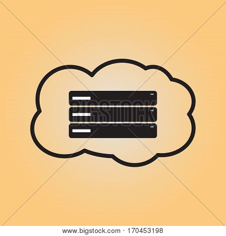 Online server flat vector icon. Isolated cloud server vector sign. Data center symbol. Cloud service pictogram. Online data storage icon.