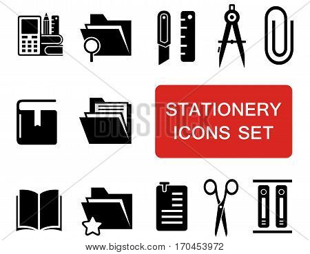 isolated stationery icon set with red signboard