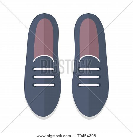 Pair of womens shoes icon. Black leather or suede loafers with laces for autumn season flat vector illustration isolated on white background. For shoes store ad, wear concept, app button, web design