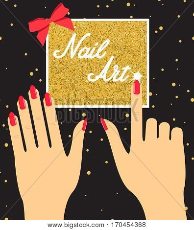 Woman hand with red fingernails on golden background. Gift certificate for a nail salon