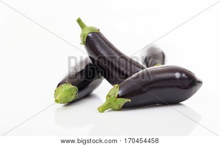 Eggplants On White Background