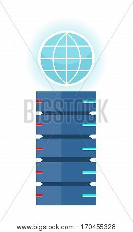Internet server vector concept in flat design. Computer system for saving and transferring information in network. Data centre with globe sign.  Illustration for hosting companies, clous services ad