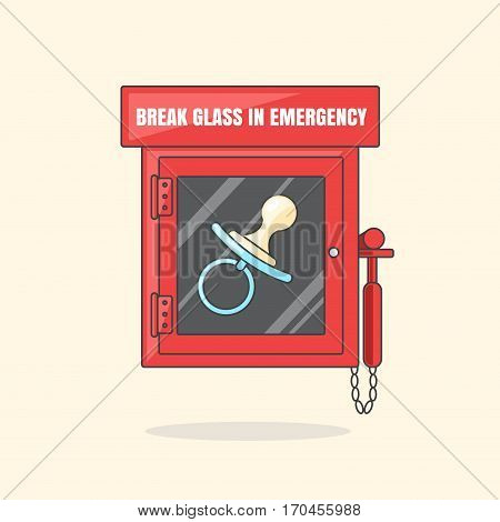 Red emergency box with in case of emergency breakable glass. Box with soother