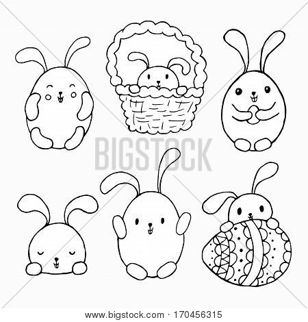 Easter bunny cartoon set. Black white vector illustration. Hand drawn sketch for posters greeting cards decoration tattoo print or t-shirt. For your design and buisness.
