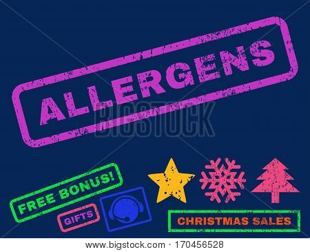 Allergens text rubber seal stamp watermark with additional bonus christmas symbols. Caption inside rectangular banner with grunge design and unclean texture.