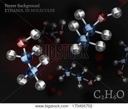 Scientific background with metallic ethanol molecules in volumetric style. C2H6O vector illustration on a dark black and red backdrop. Medical, educational and popular-scientific concept.