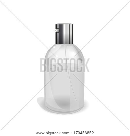 Transparent glass flacon with silver elements. Beautiful vector illustration in realistic style. Cosmetic, skin care or perfumery concept in light grey colours. Premium design template.