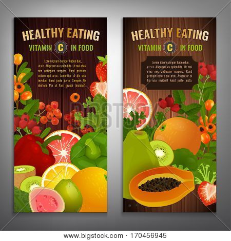 Vitamin C in food. Beautiful vector illustrations with different vegetabes, fruits and berries on a wooden background with a copyspace. Portrait banners or posters set.