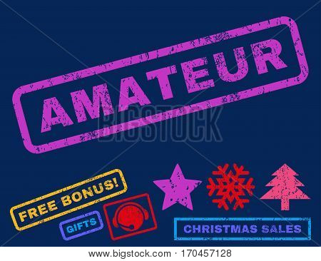 Amateur text rubber seal stamp watermark with additional bonus christmas symbols. Tag inside rectangular shape with grunge design and dirty texture.