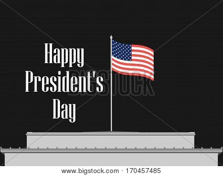 Happy Presidents Day. American Flag On A Building Roof. Vector Illustration