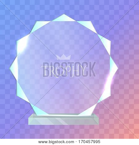 My best trophy. Contemporary round glass award with acute cutters around. Shiny. Glossy. Crystal. Crown in the center of prize. Flat design. Vector illustration