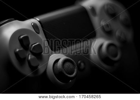 VALENCIA, SPAIN - FEBRUARY 3: Close up macro view from Dualshock 4 wireless controller for playstation 4 magma red on February 3, 2017 in Valencia, Spain