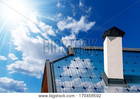 Close-up of a house roof with a solar panel on a blue sky with clouds and sun rays