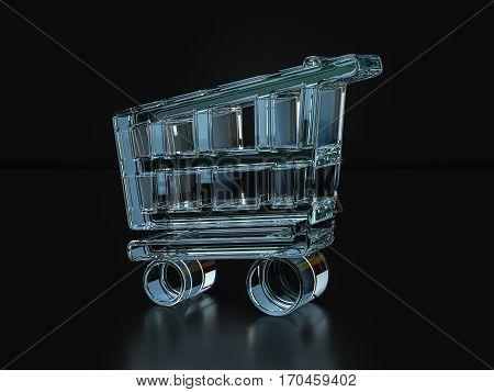 Glass Shopping Cart Symbol  3D Illustration