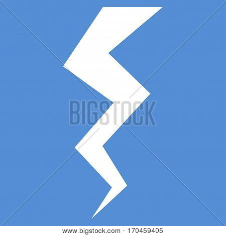 Thunder Crack vector icon symbol. Flat pictogram designed with white and isolated on a blue background.