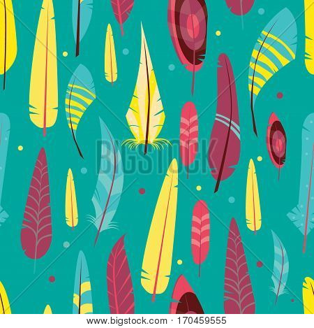 Vector seamless pattern with different graphic birds on a color background. Wallpaper with feathered race.