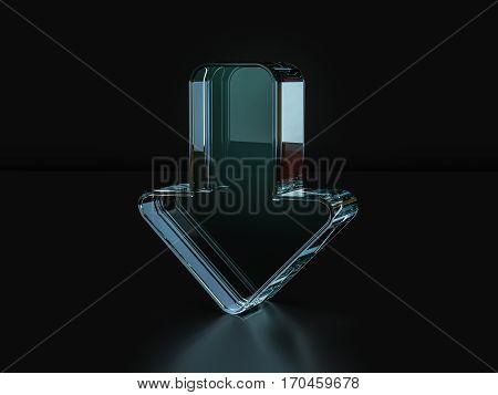 Glass Arrow Symbol  3D Illustration
