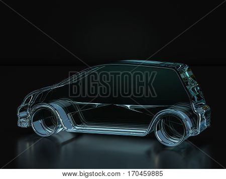 Glass Car Symbol  3D Illustration
