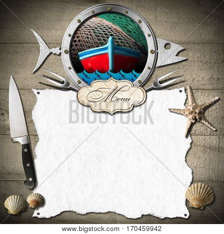 Template for a seafood menu with metal porthole in the shape of a fish label and white empty sheet of paper on a wooden wall