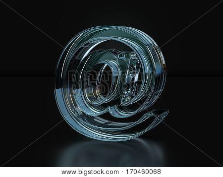Glass Email Symbol  3D Illustration