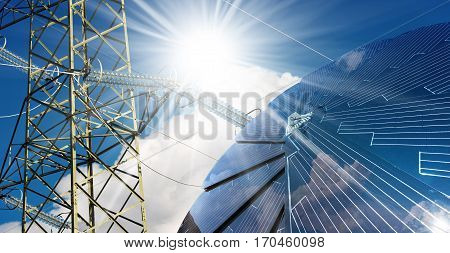 Detail of a solar panel on a blue sky with clouds and sun rays and a electricity pylon with power line - Green energy concept