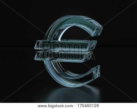 Glass Euro Symbol  3D Illustration
