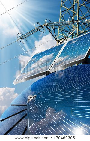Group of solar panels on a blue sky with clouds and an electricity pylon with power line - Green energy concept