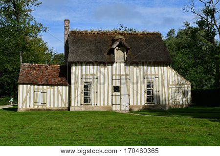 Chantilly France - august 14 2016 : hamlet in the park of the castle of Chantilly