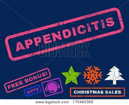 Appendicitis text rubber seal stamp watermark with bonus christmas symbols. Caption inside rectangular shape with grunge design and scratched texture.
