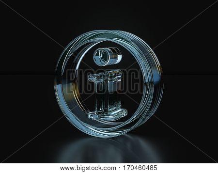 Glass Info Symbol  3D Illustration