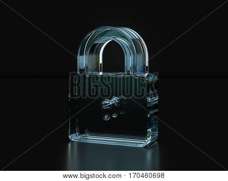 Glass Padlock Symbol  3D Illustration