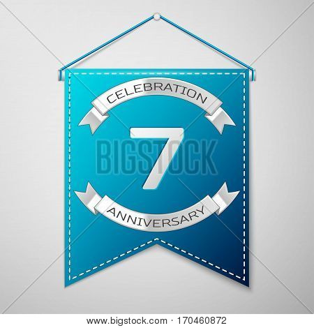 Blue pennant with inscription Seven Years Anniversary Celebration Design over a grey background. Silver ribbon. Colorful template elements for your birthday party. Vector illustration