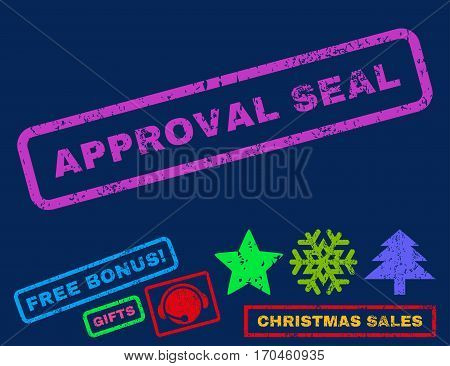 Approval Seal text rubber seal stamp watermark with additional bonus christmas symbols. Tag inside rectangular banner with grunge design and dust texture.