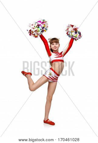 beautiful cheerleading girl with pom, close up.
