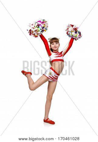 beautiful cheerleading girl with pom, close up.