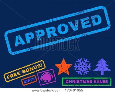 Approved text rubber seal stamp watermark with bonus christmas symbols. Tag inside rectangular shape with grunge design and dust texture.