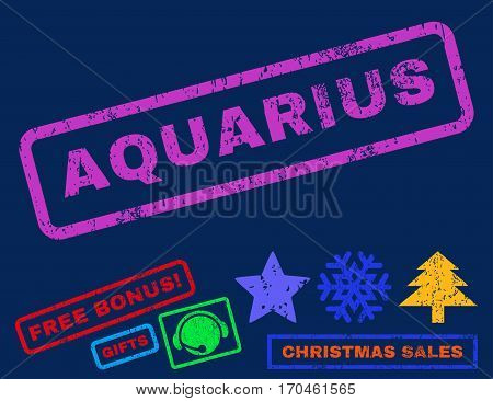 Aquarius text rubber seal stamp watermark with additional bonus christmas symbols. Tag inside rectangular shape with grunge design and dirty texture.