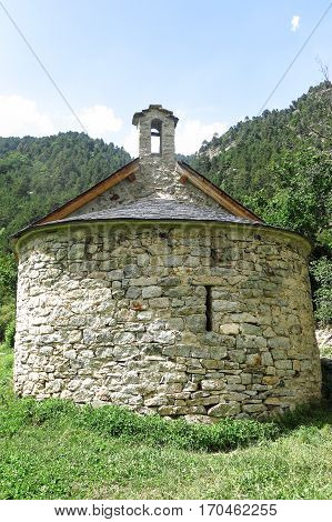 small Romanesque chapel in the Pyrenees. Aigüestortes and Sant Maurici National Park Catalonia Spain