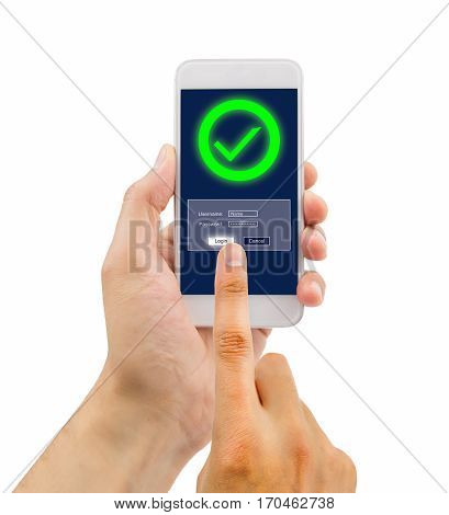 hand of a man entering the password in the smartphone with success on white background. All screen content is designed by us and not copyrighted by others and created with wacom tablet and ps