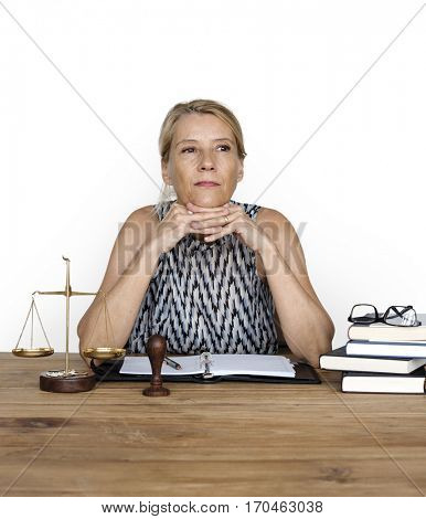 Woman Working Justice Scale Judgement Law