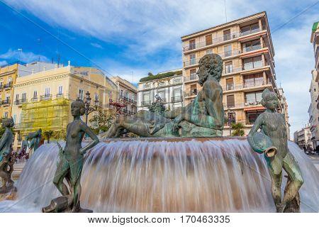 Fountain on square Plaza de la Virgen in Valencia, Spain