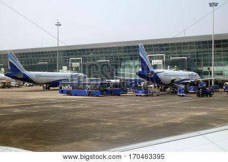 KOLKATA, INDIA - FEBRUARY 07: Airbus A320 operated by Indigo at Kolkata international Airport on February 07, 2016