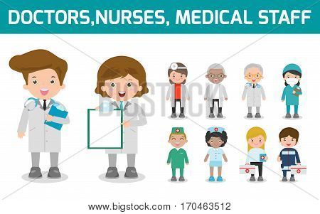 set of doctor,nurses,medicine staff in flat style isolated on white background. Hospital medical staff team doctors nurses surgeon, Vector illustration