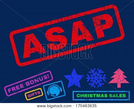 Asap text rubber seal stamp watermark with bonus new year symbols. Caption inside rectangular shape with grunge design and dust texture.