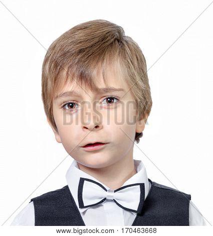 Emotional portrait of surprised  boy. isolated on white background