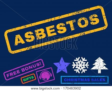 Asbestos text rubber seal stamp watermark with bonus new year symbols. Tag inside rectangular shape with grunge design and scratched texture.