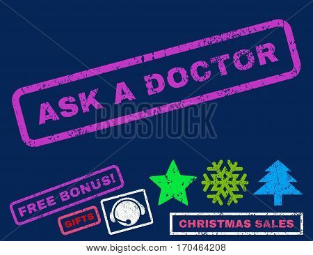 Ask a Doctor text rubber seal stamp watermark with bonus new year symbols. Tag inside rectangular shape with grunge design and unclean texture.