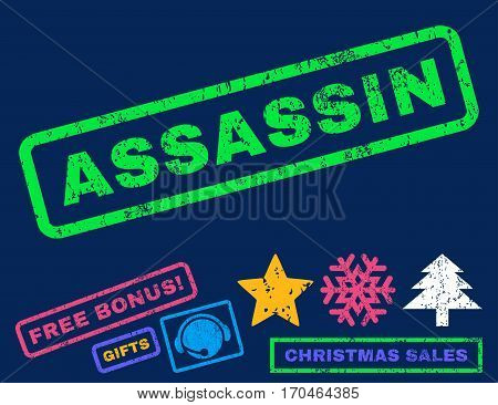 Assassin text rubber seal stamp watermark with bonus christmas symbols. Tag inside rectangular banner with grunge design and dirty texture.